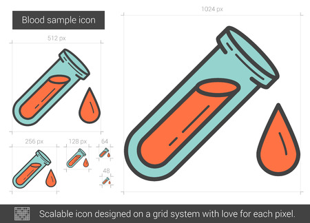 blood line: Blood sample vector line icon isolated on white background. Blood sample line icon for infographic, website or app. Scalable icon designed on a grid system.