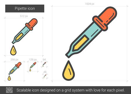 Pipette vector lijn pictogram op een witte achtergrond. Pipet lijn pictogram van infographic, website of app. Schaalbaar pictogram ontworpen op een grid-systeem.