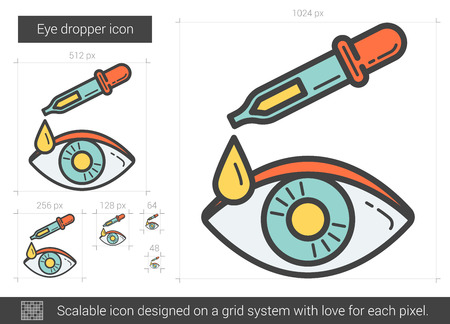 eye pipette: Eye dropper vector line icon isolated on white background. Eye dropper line icon for infographic, website or app. Scalable icon designed on a grid system. Illustration