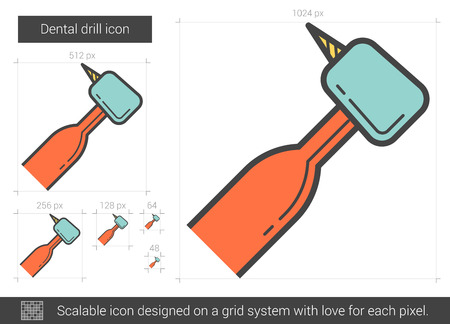 Dental drill vector line icon isolated on white background. Dental drill line icon for infographic, website or app. Scalable icon designed on a grid system. Illustration
