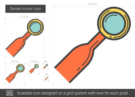 Dental mirror vector line icon isolated on white background. Dental mirror line icon for infographic, website or app. Scalable icon designed on a grid system. Illustration