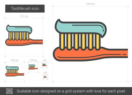 歯ブラシ ベクトル線のアイコンが白い背景で隔離。インフォ グラフィック、ウェブサイトまたはアプリ スケーラブルなアイコンの歯ブラシ線アイ