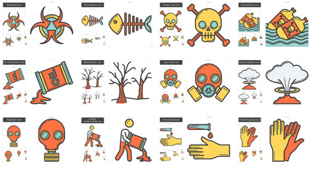 biohazard: Ecology biohazard vector line icon set isolated on white background. Ecology biohazard line icon set for infographic, website or app. Scalable icon designed on a grid system.