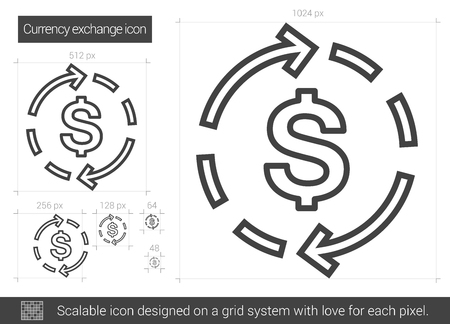 circulate: Currency exchange vector line icon isolated on white background. Currency exchange line icon for infographic, website or app. Scalable icon designed on a grid system.