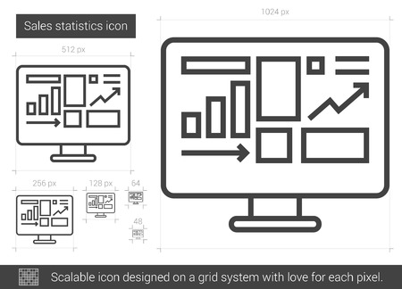 mobile website: Sales statistics vector line icon isolated on white background. Sales statistics line icon for infographic, website or app. Scalable icon designed on a grid system. Illustration