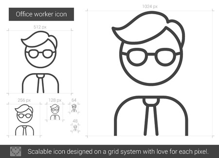 laborer: Office worker vector line icon isolated on white background. Office worker line icon for infographic, website or app. Scalable icon designed on a grid system.