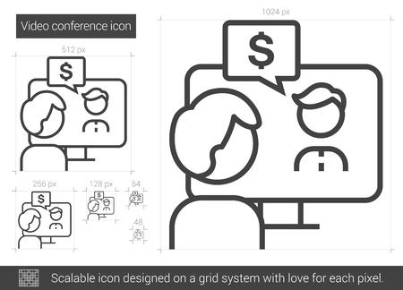 Videokonferenzvektorlinie Ikone lokalisiert auf weißem Hintergrund. Videokonferenzlinie Symbol für Infografik, Website oder App. Skalierbares Symbol, das auf einem Rastersystem entworfen wurde.