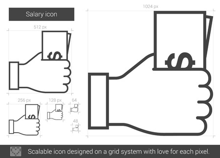 salary: Salary vector line icon isolated on white background. Salary line icon for infographic, website or app. Scalable icon designed on a grid system. Illustration