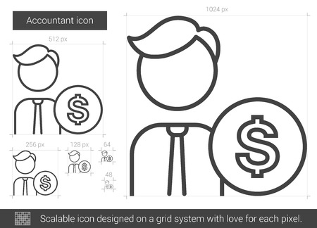 scalable: Accountant vector line icon isolated on white background. Accountant line icon for infographic, website or app. Scalable icon designed on a grid system. Illustration