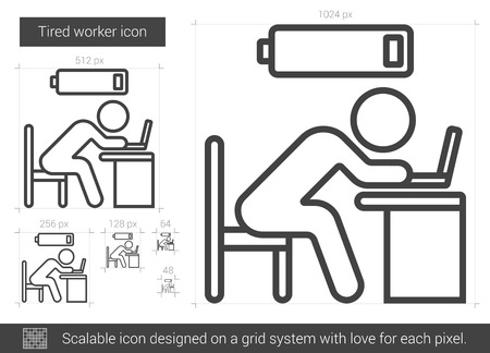 Tired worker vector line icon isolated on white background. Tired worker line icon for infographic, website or app. Scalable icon designed on a grid system. Illustration