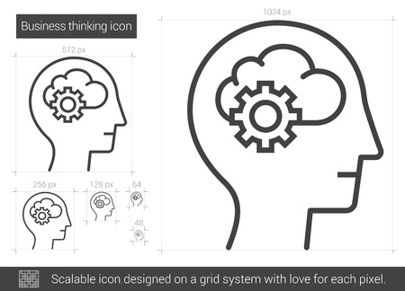 Business thinking vector line icon isolated on white background. Business thinking line icon for infographic, website or app. Scalable icon designed on a grid system.  イラスト・ベクター素材