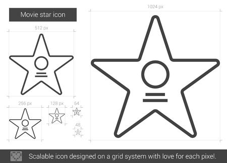 famous actor: Movie star vector line icon isolated on white background. Movie star line icon for infographic, website or app. Scalable icon designed on a grid system. Illustration