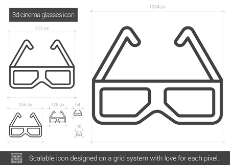 Three d cinema glasses vector line icon isolated on white background. Three d cinema glasses line icon for infographic, website or app. Scalable icon designed on a grid system.