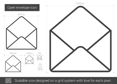 open envelope: Open envelope vector line icon isolated on white background. Open envelope line icon for infographic, website or app. Scalable icon designed on a grid system. Illustration