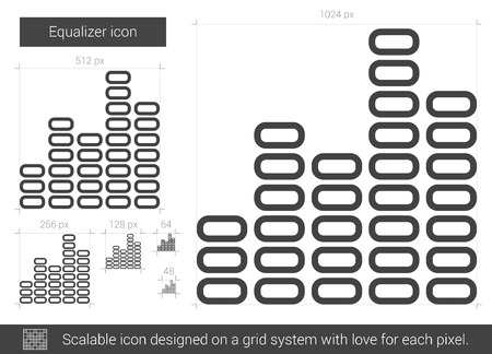 Equalizer vector line icon isolated on white background. Equalizer line icon for infographic, website or app. Scalable icon designed on a grid system. Çizim
