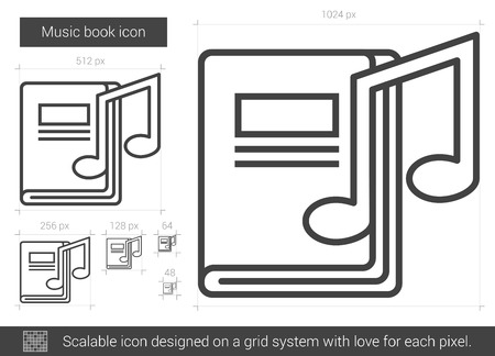 sonata: Music book vector line icon isolated on white background. Music book line icon for infographic, website or app. Scalable icon designed on a grid system. Illustration