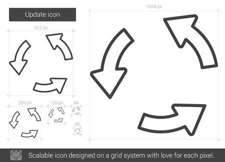 흰색 배경에 고립 된 벡터 라인 아이콘을 업데이트합니다. 인포 그래픽, 웹 사이트 또는 앱의 라인 아이콘 업데이트. 그리드 시스템에서 설계된 확장
