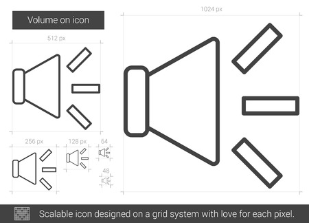 Volume on vector line icon isolated on white background. Volume on line icon for infographic, website or app. Scalable icon designed on a grid system. 版權商用圖片 - 65835921