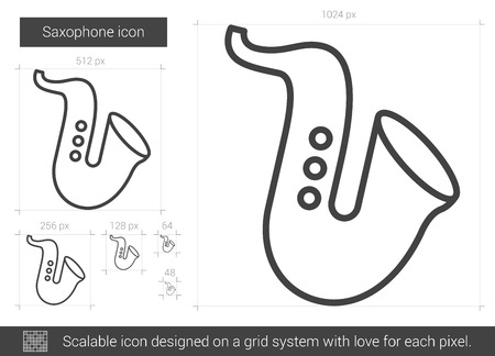 scalable: Saxophone vector line icon isolated on white background. Saxophone line icon for infographic, website or app. Scalable icon designed on a grid system.