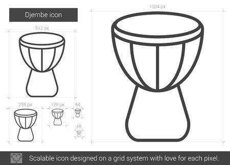 djembe: Djembe vector line icon isolated on white background. Djembe line icon for infographic, website or app. Scalable icon designed on a grid system. Illustration