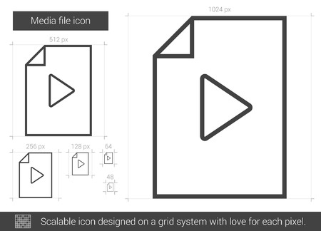 Media file vector line icon isolated on white background. Media file line icon for infographic, website or app. Scalable icon designed on a grid system. Illustration