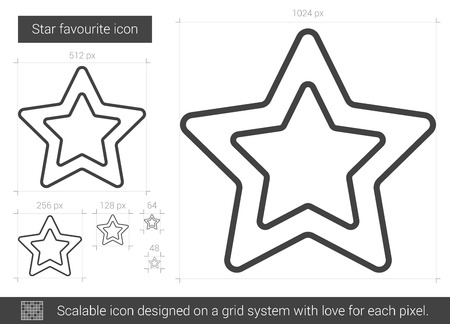 Star favourite vector line icon isolated on white background. Star favourite line icon for infographic, website or app. Scalable icon designed on a grid system. Stok Fotoğraf - 66413505