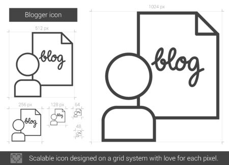Blogger vector line icon isolated on white background. Blogger line icon for infographic, website or app. Scalable icon designed on a grid system. Reklamní fotografie - 66413506