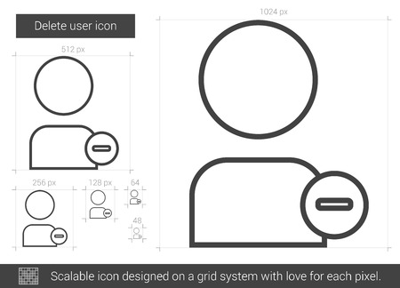 Borrar usuario icono de la línea vector aislado en el fondo blanco. Eliminar icono de línea de usuario para la infografía, sitio web o aplicación. icono escalable diseñada en un sistema de red. Foto de archivo - 65431851