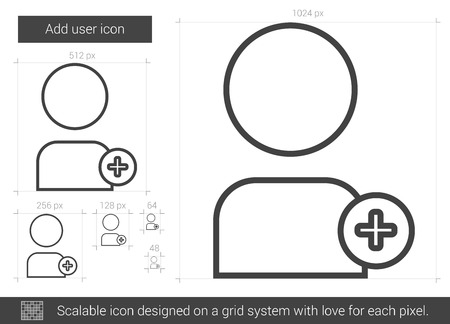 addition: Add user vector line icon isolated on white background. Add user line icon for infographic, website or app. Scalable icon designed on a grid system.