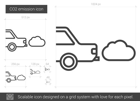 CO2 emission vector line icon isolated on white background. CO2 emission line icon for infographic, website or app. Scalable icon designed on a grid system. Illustration