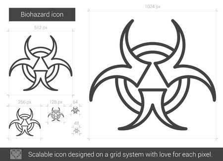 pandemia: Biohazard vector line icon isolated on white background. Biohazard line icon for infographic, website or app. Scalable icon designed on a grid system.