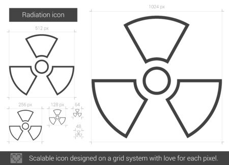 ionizing radiation risk: Radiation vector line icon isolated on white background. Radiation line icon for infographic, website or app. Scalable icon designed on a grid system.