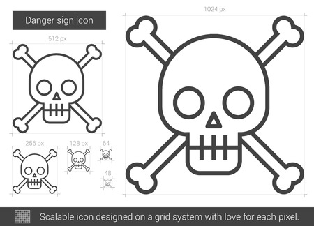 harmful: Danger sign vector line icon isolated on white background. Danger sign line icon for infographic, website or app. Scalable icon designed on a grid system.