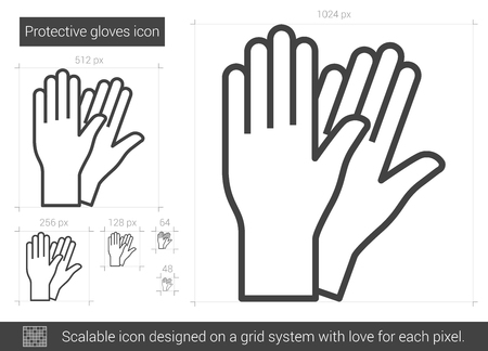 Protective gloves vector line icon isolated on white background. Protective gloves line icon for infographic, website or app. Scalable icon designed on a grid system. Vettoriali