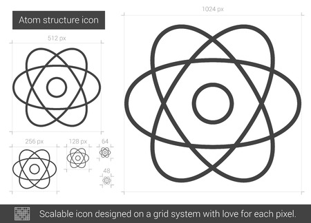 Atom structure vector line icon isolated on white background. Atom structure line icon for infographic, website or app. Scalable icon designed on a grid system. Иллюстрация
