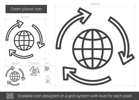 preservation: Green planet vector line icon isolated on white background. Green planet line icon for infographic, website or app. Scalable icon designed on a grid system.