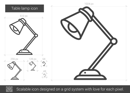Table lamp vector line icon isolated on white background. Table lamp line icon for infographic, website or app. Scalable icon designed on a grid system.