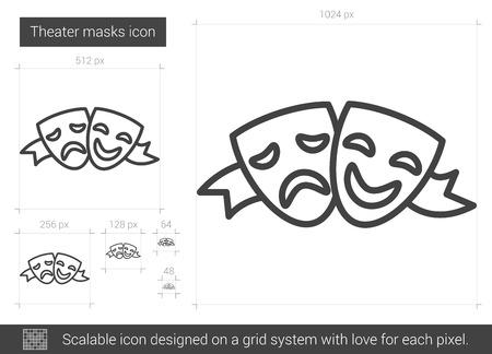 caretas teatro: Teatro icono de línea de máscaras ilustración aislado sobre fondo blanco. Teatro icono de máscaras de línea para la infografía, sitio web o aplicación. icono escalable diseñada en un sistema de red.