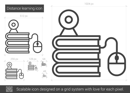 elearn: Distance learning vector line icon isolated on white background. Distance learning line icon for infographic, website or app. Scalable icon designed on a grid system. Illustration