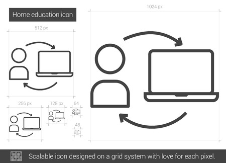 schoolwork: Home education vector line icon isolated on white background. Home education line icon for infographic, website or app. Scalable icon designed on a grid system.