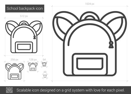 School backpack vector line icon isolated on white background. School backpack line icon for infographic, website or app. Scalable icon designed on a grid system. Ilustração