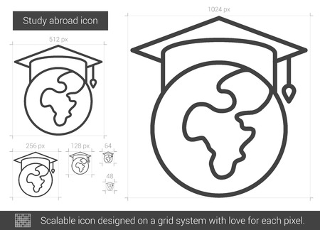 Study abroad vector line icon isolated on white background. Study abroad line icon for infographic, website or app. Scalable icon designed on a grid system. Stock Vector - 65455400