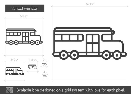 schoolbus: School van vector line icon isolated on white background. School van line icon for infographic, website or app. Scalable icon designed on a grid system. Illustration