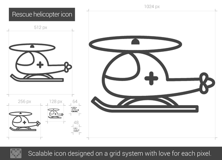 rescue helicopter: Rescue helicopter vector line icon isolated on white background. Rescue helicopter line icon for infographic, website or app. Scalable icon designed on a grid system.