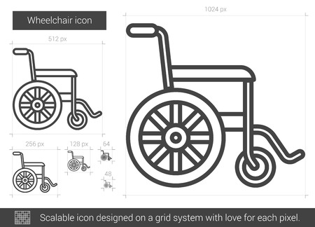 scalable: Wheelchair vector line icon isolated on white background. Wheelchair line icon for infographic, website or app. Scalable icon designed on a grid system. Illustration