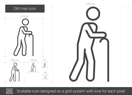 gerontology: Old man vector line icon isolated on white background. Old man line icon for infographic, website or app. Scalable icon designed on a grid system.