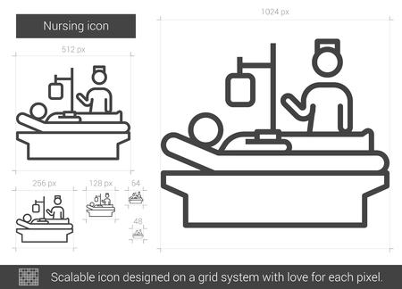 recovering: Nursing vector line icon isolated on white background. Nursing line icon for infographic, website or app. Scalable icon designed on a grid system. Illustration
