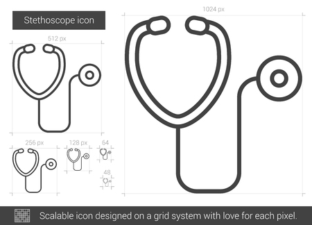 phonendoscope: Stethoscope vector line icon isolated on white background. Stethoscope line icon for infographic, website or app. Scalable icon designed on a grid system. Illustration