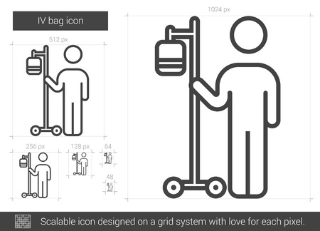 intravenous drip: IV bag vector line icon isolated on white background. IV bag line icon for infographic, website or app. Scalable icon designed on a grid system.