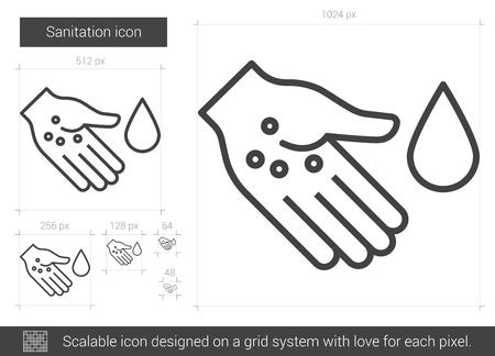 Assainissement icône de la ligne de vecteur isolé sur fond blanc. Assainissement icône de la ligne pour infographie, site Web ou application. icon Scalable conçu sur un système de grille. Vecteurs
